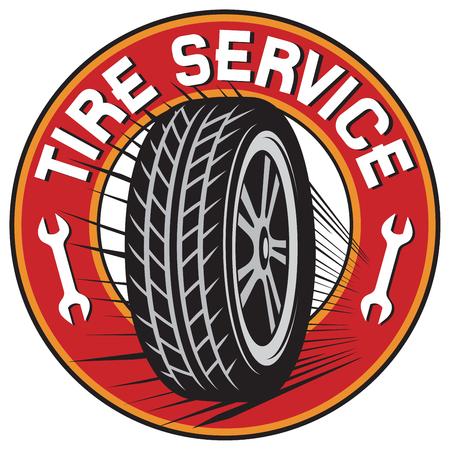Tire service label. Stock Illustratie
