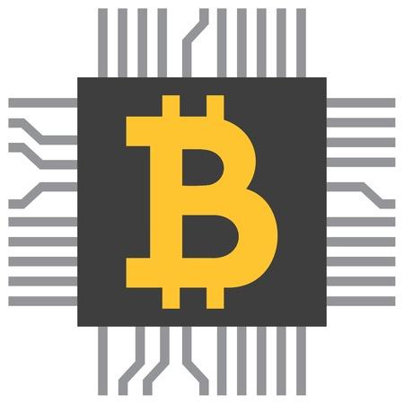 Bitcoin symbol icon (computer microchip).