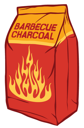 Charcoal paper bag vector illustration (barbecue briquettes).