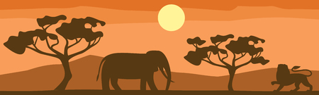 African Savannah landscape with animal silhouette (elephant and lion).