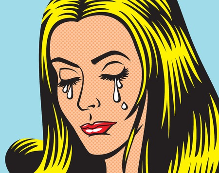 Crying girl in pop art style.