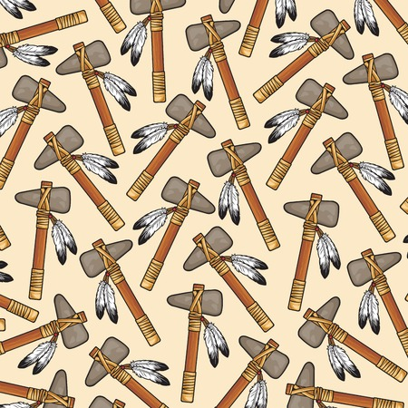 background pattern with native american tomahawk Illustration