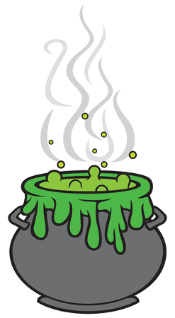 witch cauldron with green potion vector illustration