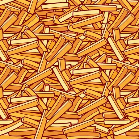 patrón de fondo con papas fritas Ilustración de vector