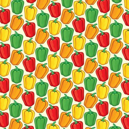 motif de fond avec des poivrons doux de couleur verte, orange, rouge et jaune