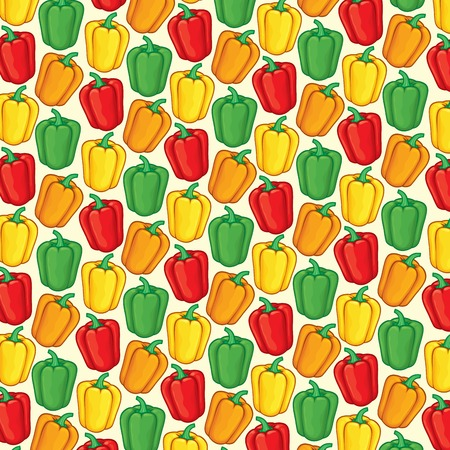 background pattern with sweet bell peppers in green, orange, red and yellow color Illustration