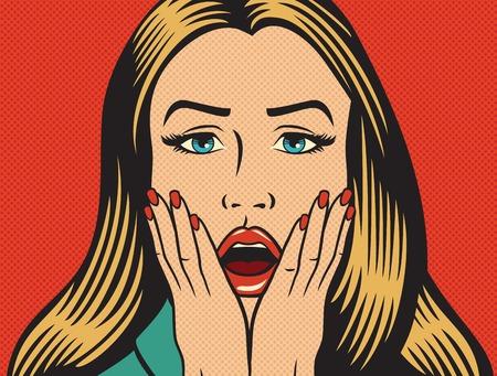 ilustración vectorial de una hermosa mujer sorprendida (sorprendida) en el estilo del arte pop