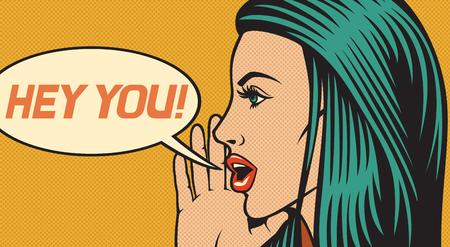 hej ty - ilustracja wektorowa pięknej kobiety nazywając kogoś (krzyczy głośno) w stylu pop-art