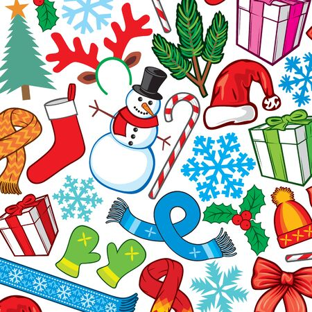 Background pattern with Christmas and New Year icons