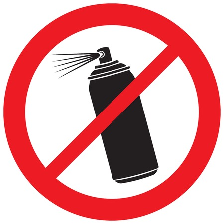 no aerosol spray sign (prohibition icon)