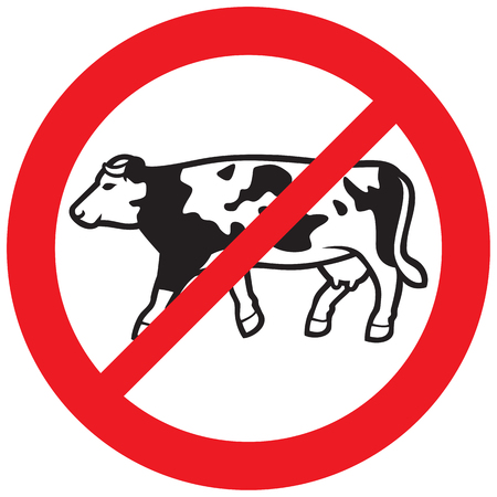 cow meat forbidden sign (no lactose and milk symbol, prohibition icon)