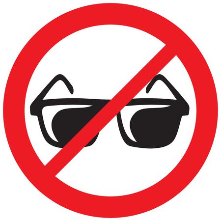 no sunglasses sign (prohibition icon, not allowed symbol) Illustration