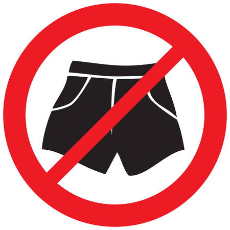 Boxer shorts not allowed sign icon.  イラスト・ベクター素材