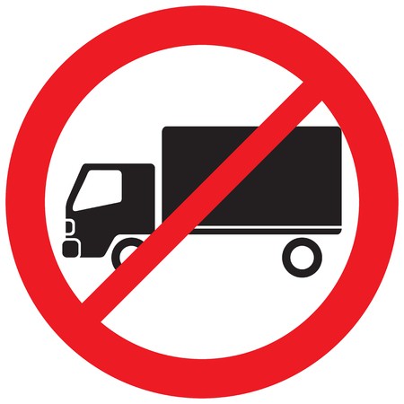 no truck prohibition sign (forbidden symbol, not allowed icon)