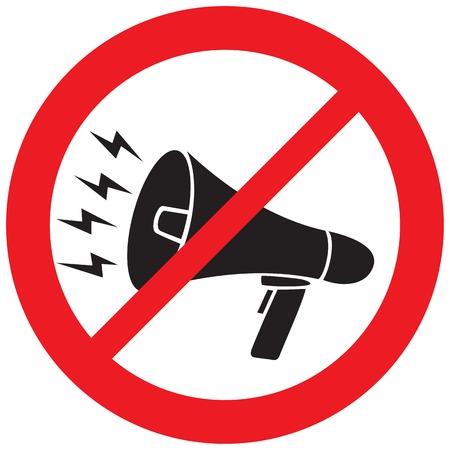 Megaphone not allowed sign Illustration