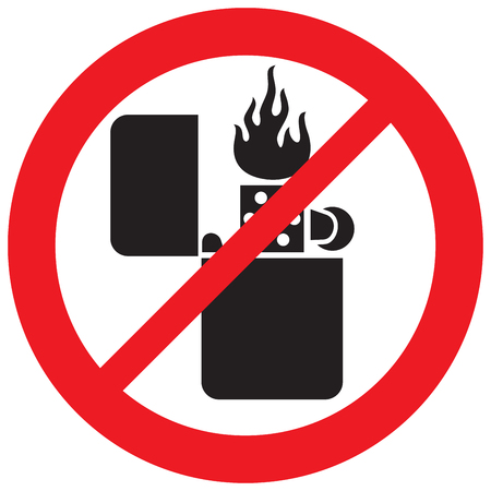 Retro lighter with flame not not allowed sign