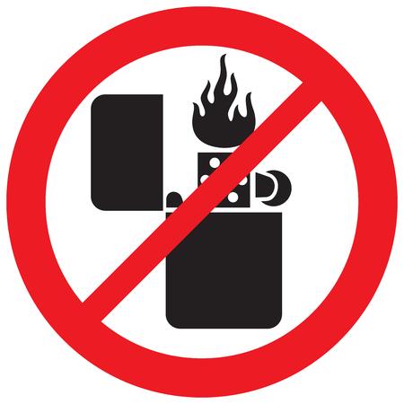 Encendedor retro con llama no señal permitida