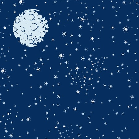 Background with night sky, moon and stars Illustration