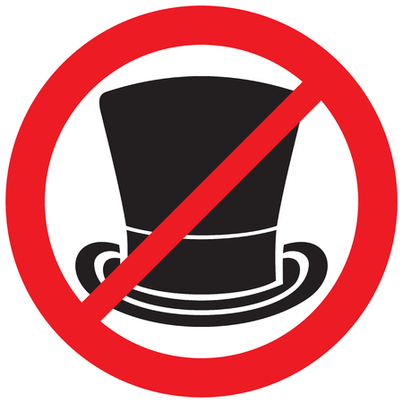 top hat prohibition sign (not allowed icon)
