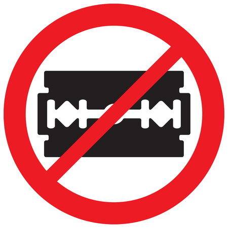 razor blade not allowed sign (prohibition icon) Illustration
