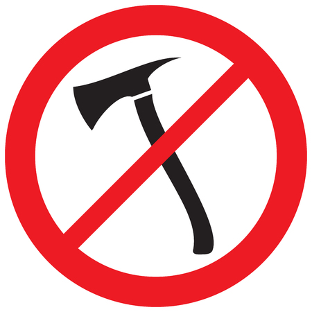 prohibited axe sign (not allowed icon) Illustration
