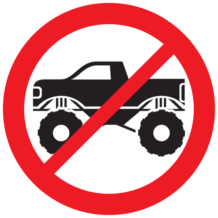 Monster truck not allowed sign