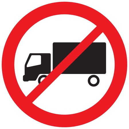 no truck sign (no parking symbol, prohibition icon) Vectores