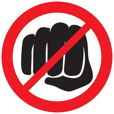 fist punching not allowed sign (violence prohibition icon) 일러스트