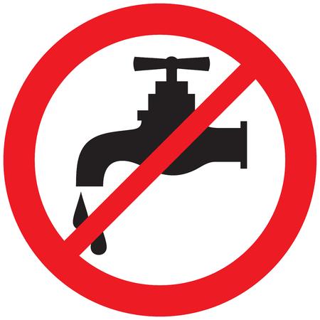 sin símbolo de grifo de agua Ilustración de vector