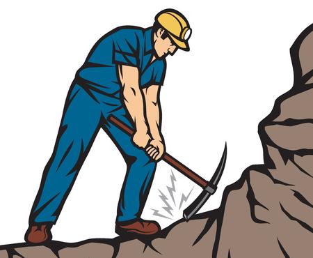 Zekere Mijnwerker met Oogstbijl