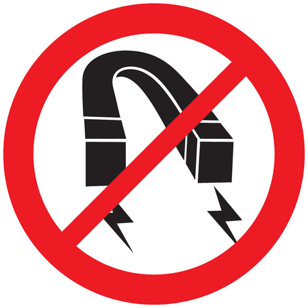 horseshoe red iron magnet not allowed sign Illustration