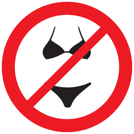 naturism sign (prohibition icon, swimsuit not allowed symbol)