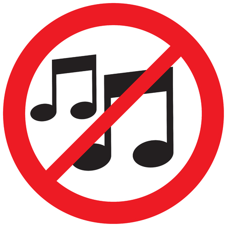 music note not allowed sign Illustration