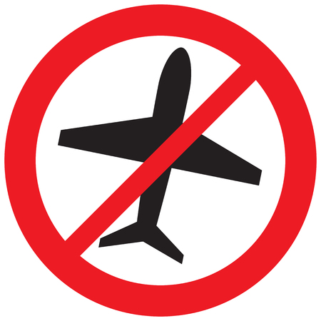 no airplane symbol, forbidden flight sign (prohibition icon)