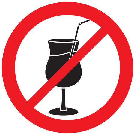 forbidden sign with cocktail (prohibition icon, not allowed symbol)