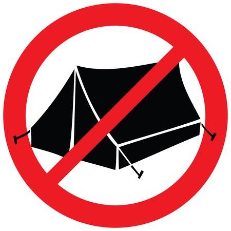 캠핑 표시 없음 (텐트는 허용되지 않음 기호, 금지 아이콘) 일러스트