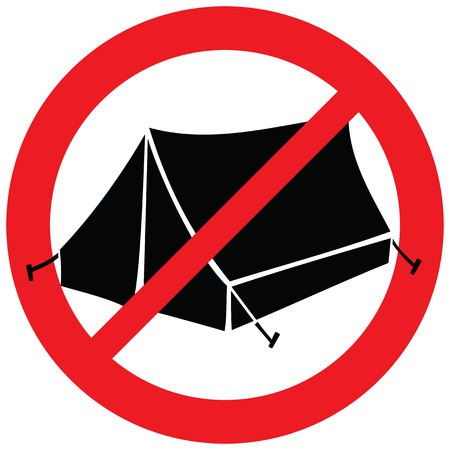no camping sign (tents not allowed symbol, prohibition icon)