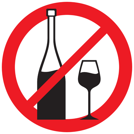 wine forbidden (no alcohol, prohibition icon)