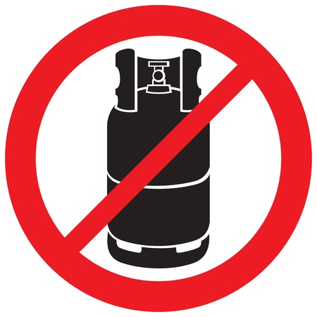 propane gas cylinder not allowed sign Vectores