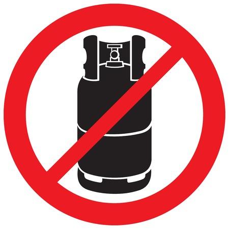 propane gas cylinder not allowed sign Illustration