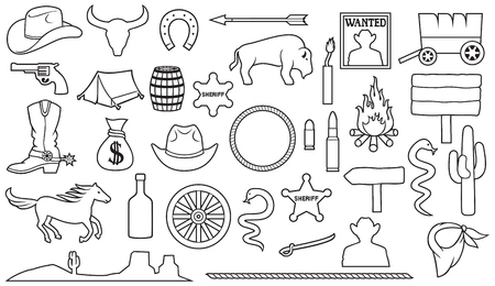 Wild West a thin line icons set
