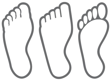 Human foot thin line icons.