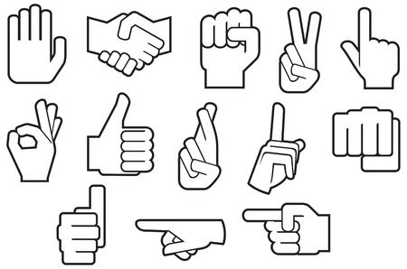 Human hands gesture thin line icons