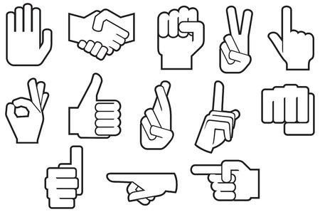 manos humanas iconos de línea delgada Ilustración de vector