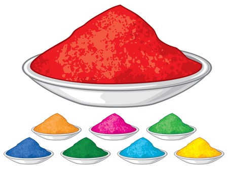 Colorful holi powders for happy holi festival, vector illustration isolated on white background.