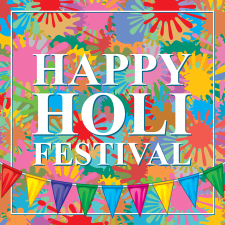 Happy Holi festival design with colorful paint splashes and buntings. Vector illustration.