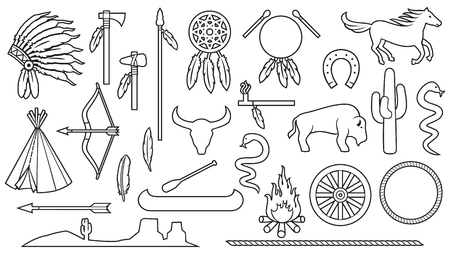 Native American Indians thin line icons set Vector illustration.