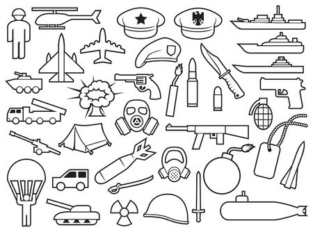 la linea di armi icone ha messo su fondo bianco Illustrazione di vettore.