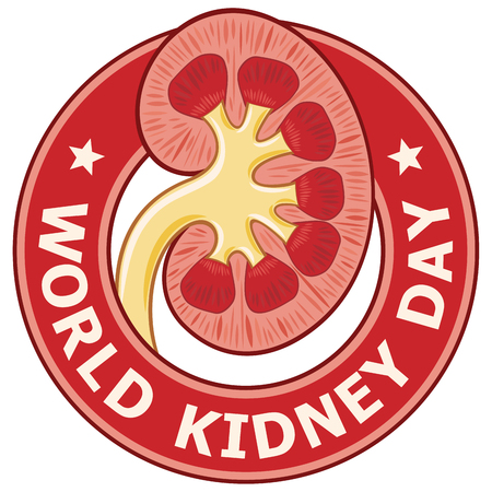 World Kidney Day label with kidney in the center Vector illustration.
