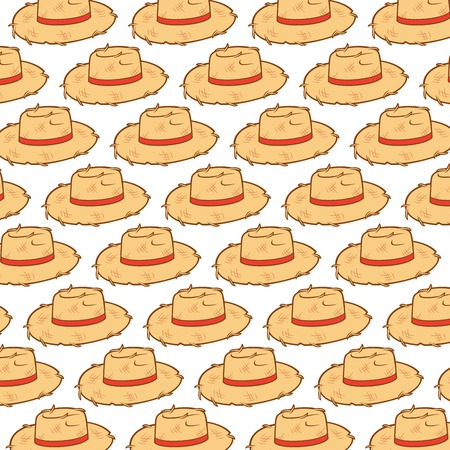 background pattern with straw hats